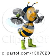Clipart Of A 3d Happy Gardener Bee Facing Right Working Out Doing Shoulder Presses With Dumbbells Royalty Free Illustration