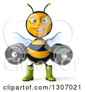 Clipart Of A 3d Happy Gardener Bee Working Out Doing Squats With Dumbbells Royalty Free Illustration