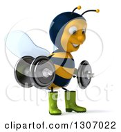 Clipart Of A 3d Happy Gardener Bee Facing Right Working Out Doing Squats With Dumbbells Royalty Free Illustration
