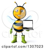 Clipart Of A 3d Happy Gardener Bee Holding A Laptop Computer With A Blank Screen Royalty Free Illustration