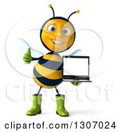 Clipart Of A 3d Happy Gardener Bee Giving A Thumb Up And Holding A Laptop Computer With A Blank Screen Royalty Free Illustration