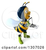 Clipart Of A 3d Happy Gardener Bee Facing Right Holding And Pointing To A Laptop Computer With A Blank Screen Royalty Free Illustration