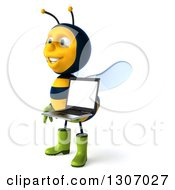 Clipart Of A 3d Happy Gardener Bee Facing Left And Holding A Laptop Computer With A Blank Screen Royalty Free Illustration