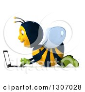 Clipart Of A 3d Happy Gardener Bee Facing Left And Using A Laptop Computer On The Floor Royalty Free Illustration