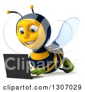 Clipart Of A 3d Happy Gardener Bee Using A Laptop Computer On The Floor Royalty Free Illustration