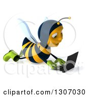 Clipart Of A 3d Happy Gardener Bee Facing Right And Using A Laptop Computer On The Floor Royalty Free Illustration