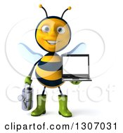 Clipart Of A 3d Happy Gardener Bee Holding A Watering Can And A Laptop Computer With A Blank Screen Royalty Free Illustration