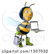Clipart Of A 3d Happy Gardener Bee Facing Slightly Right Holding A Watering Can And A Laptop Computer With A Blank Screen Royalty Free Illustration