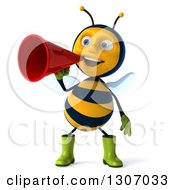 Clipart Of A 3d Happy Gardener Bee Announcing With A Megaphone Royalty Free Illustration