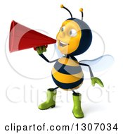 Clipart Of A 3d Happy Gardener Bee Facing Slightly Left And Announcing With A Megaphone Royalty Free Illustration