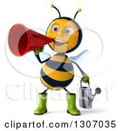 Clipart Of A 3d Happy Gardener Bee Holding A Watering Can And Announcing With A Megaphone Royalty Free Illustration