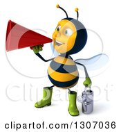 Clipart Of A 3d Happy Gardener Bee Facing Slightly Left Holding A Watering Can And Announcing With A Megaphone Royalty Free Illustration