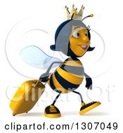 Clipart Of A 3d Traveling Queen Bee Walking To The Right With Rolling Luggage Royalty Free Illustration