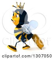 Clipart Of A 3d Traveling Queen Bee Walking To The Left With Rolling Luggage Royalty Free Illustration