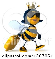 Clipart Of A 3d Traveling Queen Bee Wearing Sunglasses And Walking To The Right With Rolling Luggage Royalty Free Illustration