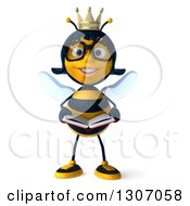 Clipart Of A 3d Happy Bespectacled Queen Bee Holding A Book Royalty Free Illustration