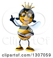 Clipart Of A 3d Happy Bespectacled Queen Bee Holding Up A Finger And Reading A Book Royalty Free Illustration
