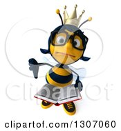Clipart Of A 3d Unhappy Bespectacled Queen Bee Holding Up A Thumb Down And A Book Royalty Free Illustration