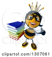 Clipart Of A 3d Happy Bespectacled Queen Bee Holding Up A Thumb And A Book Royalty Free Illustration