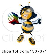 Clipart Of A 3d Happy Bespectacled Female Bee Jumping With A Stack Of Books Royalty Free Illustration