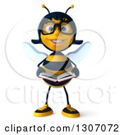 Clipart Of A 3d Happy Bespectacled Female Bee Reading A Book Royalty Free Illustration