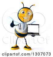 Clipart Of A 3d Happy Bee Doctor Holding A Thumb Up And A Laptop With A Blank Screen Royalty Free Illustration