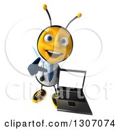 Clipart Of A 3d Happy Bee Doctor Holding Up And Pointing To A Laptop With A Blank Screen Royalty Free Illustration