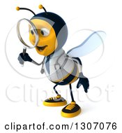 Clipart Of A 3d Happy Bee Doctor Facing Left And Searching With A Magnifying Glass Royalty Free Illustration