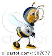 Clipart Of A 3d Happy Bee Doctor Walking To The Right And Searching With A Magnifying Glass Royalty Free Illustration