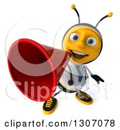 Clipart Of A 3d Happy Bee Doctor Announcing Upwards With A Megaphone Royalty Free Illustration