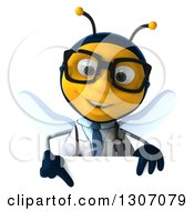 Clipart Of A 3d Happy Bespectacled Bee Doctor Pointing Down Over A Sign Royalty Free Illustration