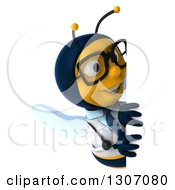 Clipart Of A 3d Happy Bespectacled Bee Doctor Looking Around A Sign Royalty Free Illustration