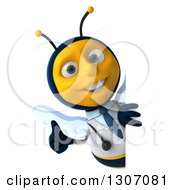 Clipart Of A 3d Happy Bee Doctor Giving A Thumb Up Around A Sign Royalty Free Illustration