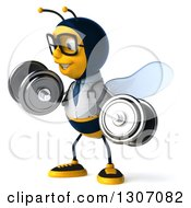 Clipart Of A 3d Happy Bespectacled Bee Doctor Facing Slightly Left Working Out Doing Bicep Curls With Dumbbells Royalty Free Illustration