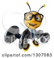 Clipart Of A 3d Happy Bespectacled Bee Doctor Looking Up Working Out Doing Bicep Curls With Dumbbells Royalty Free Illustration