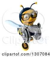 Clipart Of A 3d Happy Bespectacled Bee Doctor Working Out Doing Bicep Curls With Dumbbells Royalty Free Illustration