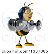 Clipart Of A 3d Happy Bespectacled Bee Doctor Facing Slightly Right Working Out Doing Lateral Raises With Dumbbells Royalty Free Illustration