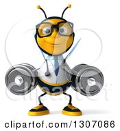 Clipart Of A 3d Happy Bespectacled Bee Doctor Working Out Doing Dumbbell Squats With Dumbbells Royalty Free Illustration