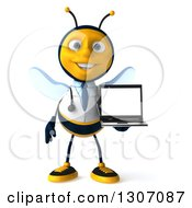 Clipart Of A 3d Happy Bee Doctor Holding A Laptop With A Blank Screen Royalty Free Illustration