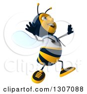 Clipart Of A 3d Happy Bee Doctor Facing Right And Jumping Royalty Free Illustration by Julos