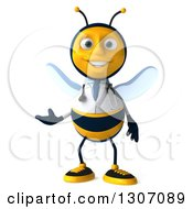 Clipart Of A 3d Happy Bee Doctor Presenting Royalty Free Illustration