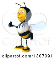 Clipart Of A 3d Happy Bee Doctor Facing Left And Giving A Thumb Up Royalty Free Illustration by Julos