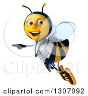 Clipart Of A 3d Happy Bee Doctor Flying And Pointing To The Left Royalty Free Illustration by Julos