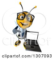 Clipart Of A 3d Happy Bespectacled Bee Doctor Holding Up And Pointing To A Laptop With A Blank Screen Royalty Free Illustration by Julos