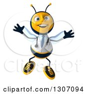 Clipart Of A 3d Happy Bee Doctor Jumping Royalty Free Illustration by Julos