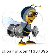 Clipart Of A 3d Happy Bespectacled Business Bee Facing Right Working Out And Doing Dumbbell Squats With Dumbbells Royalty Free Illustration