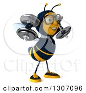 Clipart Of A 3d Happy Bespectacled Business Bee Facing Slightly Right Working Out And Doing Shoulder Presses With Dumbbells Royalty Free Illustration
