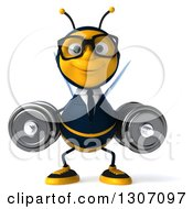 Clipart Of A 3d Happy Bespectacled Business Bee Working Out And Doing Dumbbell Squats With Dumbbells Royalty Free Illustration