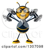 Clipart Of A 3d Happy Bespectacled Business Bee Working Out And Doing Shoulder Presses With Dumbbells Royalty Free Illustration