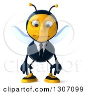 Clipart Of A 3d Sad Business Bee Pouting Royalty Free Illustration